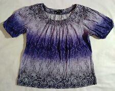 Purple white black gray blouse top style cotton flower style & co