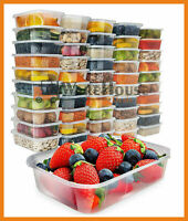 50 Takeaway Food Containers Plastic Microwave Freezer Safe Storage Boxes + LIDS