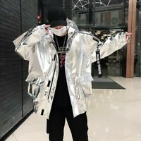 Mens Casual Jackets Hooded Loose Zipper Youth Street Hip-hop Stylish Coats Sizes