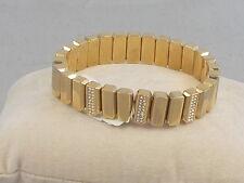Fossil Brand Goldtone Rectangle Bead Rhinestone Stretch Bracelet JA6671 $58