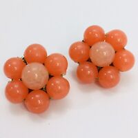 Coral Orange Vintage Earrings Flower Bead Cluster Made in Western Germany