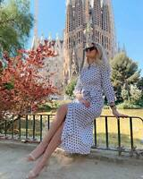 ZARA SS19 OFF-WHITE LONG POLKA DOT DRESS Size M Ref. 3440/055