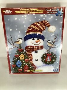 White Mountain 550 Piece Snowman & Chickadees Jigsaw Puzzle Complete New in Box