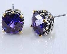 Purple Amethyst Cubic Zirconia Earrings Designer Filigree Silver Gold 18KGP