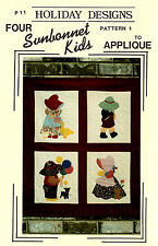 Four Sunbonnet Kids Applique Wall Hanging Pattern by Holiday Designs P-11