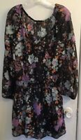 Jessica Simpson Woman's Size M Black Teal Sheer Floral Elastic Neck Blouse Top