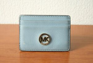 100% Authentic Michael Kors Blue Leather & Canvas ID Card Holder