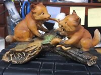 HOMCO 1981 Masterpiece Porcelain Figurine, 2 Baby Fox Playing on Log, collect