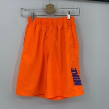 NIKE swim shorts boys size Large neon orange pockets 721989