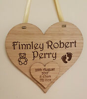 PERSONALISED NEW BABY CHRISTENING GIFT ENGRAVED BIRTH PLAQUE BOY GIRL WOODEN