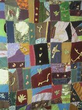 Vintage Crazy Quilt Silks & Velvets & Wools Applique Needlepoint Flowers Animals