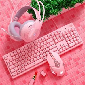 Mechanical Gaming Keyboard Mouse Headphone Set Pink Color PC Gamer Gift Package