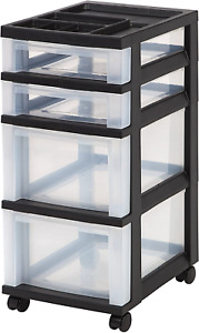 Drawer Storage Cart with Organizer Top Clear Glide Casters