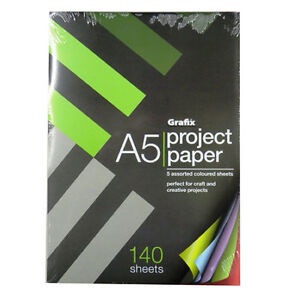 A5 Project Paper, 140 Sheets, 70gsm Coloured Paper, 5 Colours, Size 210 x 148mm
