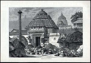 TEMPLE OF JUGGERNAUT 1891 Jagannath Mandira India VICTORIAN ENGRAVING