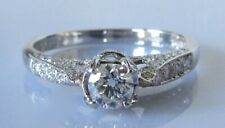 Gold Diamond Ring - 18ct White Gold Diamond Solitaire Ring Size M