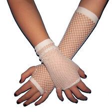 Fishnet Fingerless Gloves White Armwarmers GOTH club EMO costume 80s