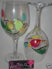 2 Hand-Painted String of Christmas Lights Wine Glasses