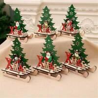 Merry Christmas Wooden Snowman Elk Santa Claus Xmas Ornament Table Decoration
