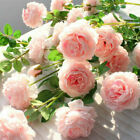 3 Heads Fake Artificial Peony Pink Flowers Rose White Wedding Bouquet Home Decor