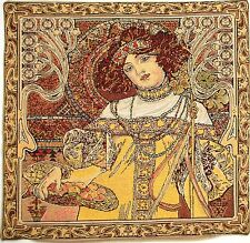 "NEW ALPHONSE MUCHA ""AUTUMN/AUTOMNE"" 18"" BELGIAN TAPESTRY CUSHION COVER 17G"