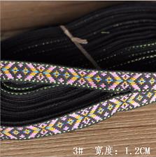 5 Yards Vintage Embroidered lace ribbon Diamond lattice Trim Decorative 12mm