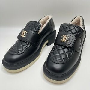Chanel 2021 Black Quilted Flap Turnlock CC Logo 38 EUR Size Shearling Loafer