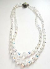 Vintage 50s 2 Strand Graduated Faceted Crystal / Glass Necklace