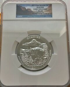 2011 ATB Glacier 5 Oz .999 Silver Coin NGC MS 69 Early Release