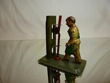 TIN TOY BLECH GERMANY US ZONE - VINTAGE ENGINE OPERATOR - GREEN H10.5cm - NICE