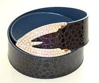 CINTURA donna CINTURONE BLU pelle VERNICE lucida cocco STRASS ceinture belt 300