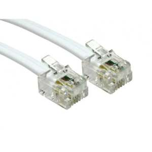 15m RJ11 To RJ11 Cable Lead 4 Pin ADSL DSL Router Modem Phone 6p4c WHITE Long