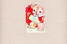 Vintage Valentine Bear Playing  Accordian Accordin To Me You're Mine