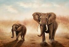 Elephant- #1, 24x36 100% Hand painted Oil Painting on Canvas