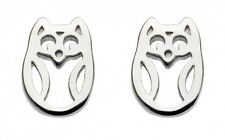 Dew 925 Sterling Silver Open Design Owl Stud Earrings 8 x 5 mm with Gift Box