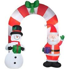 Christmas Inflatable Santa & Snowman Candy Cane Archway by Gemmy