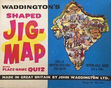 WADDINGTONS Jig-Map Jigsaw Puzzle INDIA Vintage Retro