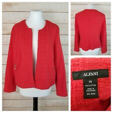 Alfani 14 Red Collarless Open-Front Blazer Jacket Zip Pockets Textured Cotton