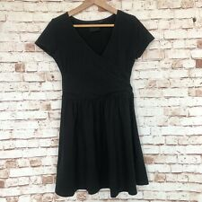 Black ASOS Wrap Style Skater Fit And Flare Dress Short Sleeve Size 12