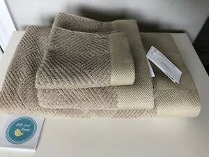 3pc FRETTE TOWEL SET Diamond Jacquard Khaki 1 Bath & 1 Hand New 1 Washcloth NEW