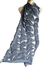 Black white Grey beach wrap scarf sarong/pareo, swimwear cover FISH print new