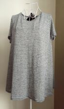 NWT NEW LOOK Grey & White Striped Linen Mix Oversized Swing T Shirt Top Size 10