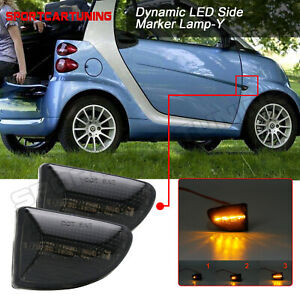 Sequential LED Side Marker Light Smoked For 07-15 Smart Fortwo 451 MK1&MKII 2PCS