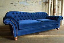 NEW HANDMADE CHESTERFIELD SOFA COUCH CHAIR 3 SEAT MODERN NAVY BLUE VELVET