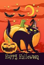 Morigins Wizard Black Cat Decor Fall Pumpkin Happy Halloween Garden Flag