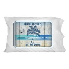 Instant Happiness Just Add Water Tropical Beach Novelty Bedding Pillowcase