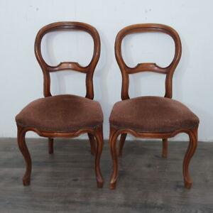 antica coppia di sedie Luigi Filippo '800 in noce massello francese