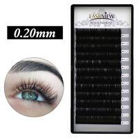 Semi Permanent Silk Eyelash Extensions Individual Lashes 0.20mm C Curl 8-15mm