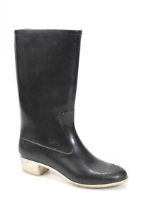 Chanel Womens Cap Toe Logo Knee High Rain Boots Black Size 41 11
