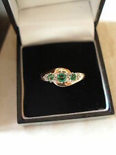 9 CARAT GOLD EMERALD & DIAMOND RING BRAND NEW IN BOX MADE IN ENGLAND